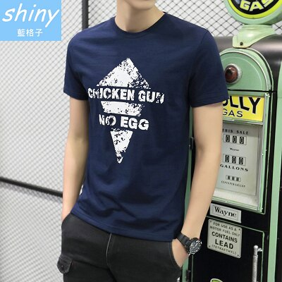 全店滿399輸入DENIM60 折60【Y145】shiny藍格子-休閒自在.夏季韓版圓領修身字母短袖上衣