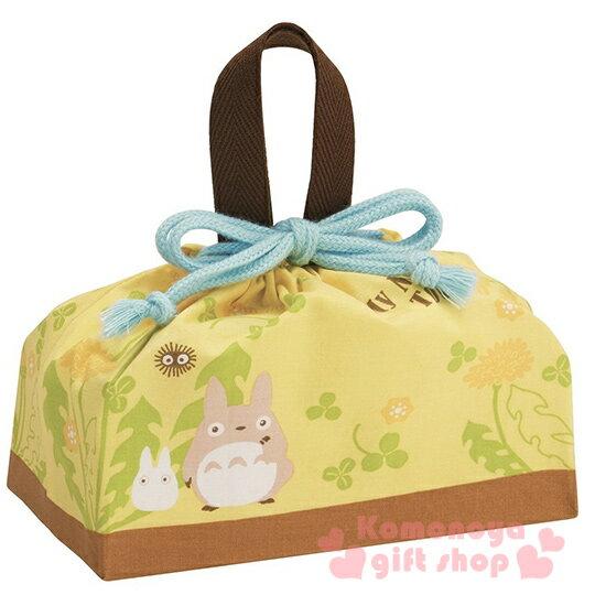 〔小禮堂〕宮崎駿Totoro龍貓 日製便當型束口提袋《米黃.朋友.三葉草》