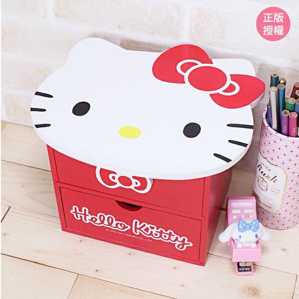 Hello Kitty 化妝收納盒- 大頭 置物櫃 小物收納 文具收納 製 三麗鷗 Sanrio 蕾寶 生日 畢業   情人節 聖誕 聖誕節 化妝盒