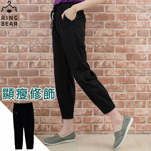 九分褲--純色透氣棉麻鬆緊綁繩顯瘦休閒九分褲(黑XL-3L)-S81眼圈熊中大尺碼 0