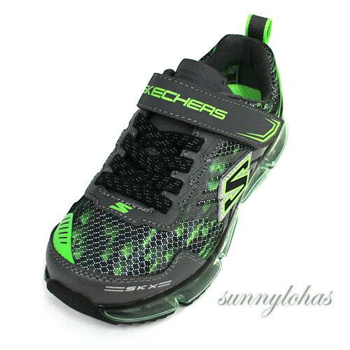 SKECHERS(童)休閒運動系列SKECH-AIRMEGA氣墊運動童鞋-97735LBCCL綠[陽光樂活]