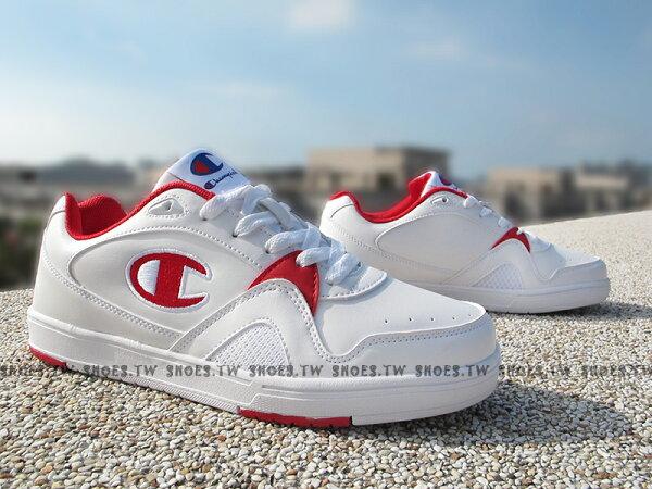 《限時特價990元》Shoestw【611220245】Champion休閒鞋板鞋白紅皮革女生