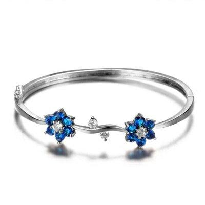 925純銀手環 鑲鑽手鍊 ~ 簡約唯美花朵母親節生日情人節 女飾品6色73fg34~ ~~