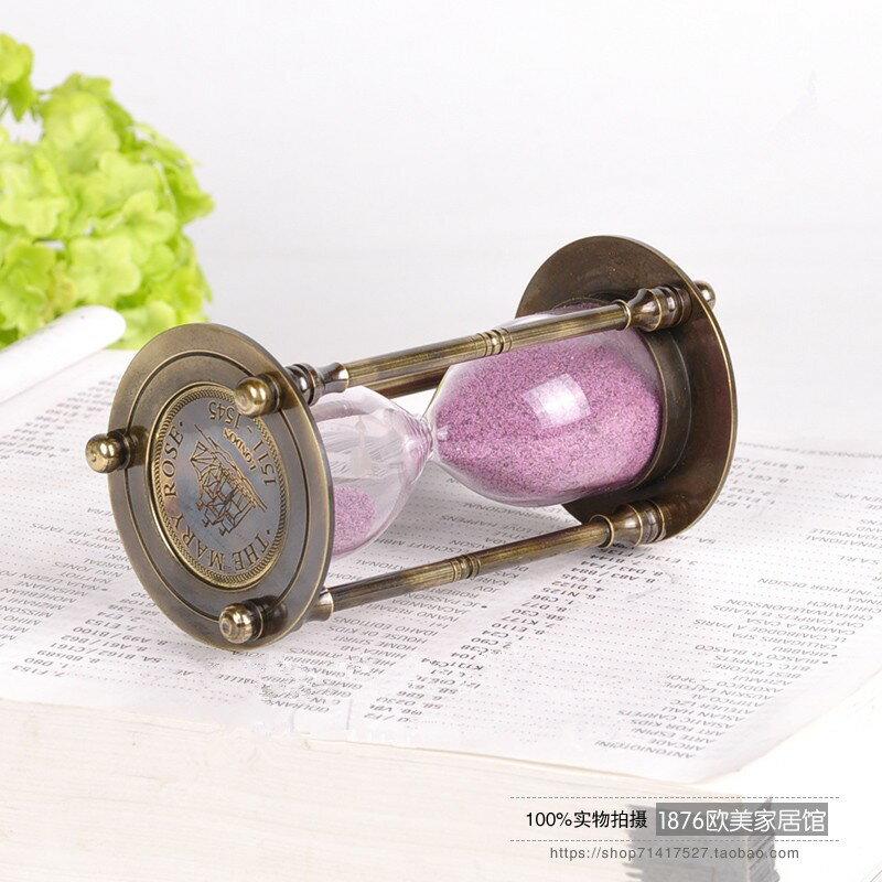 創意純銅沙漏計時器擺件結婚禮品美式客廳臥室桌面裝飾品1入
