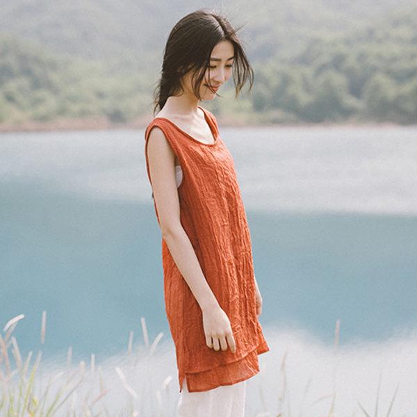 背心 森林系雙層下襬棉麻背心上衣T恤 衣服日系 【88-12-8202-0073】ibella 艾貝拉