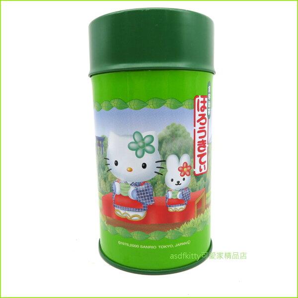 asdfkitty可愛家☆二手商品出清-KITTY綠色圓型鐵皮空罐置物罐收納罐-附湯匙-放糖果.餅乾.茶葉...等-