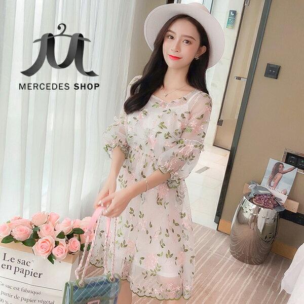 《全店75折》韓國小清新刺繡網紗連身裙吊帶裙兩件套短袖洋裝(S-XL,2色)-梅西蒂絲(現貨+預購)