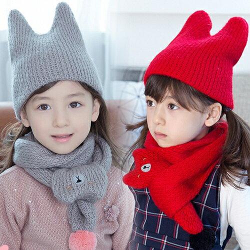 WallFree窩自在★ 秋冬可愛萌系微笑貓咪造型純色保暖針織兒童毛線帽+圍巾 2件套