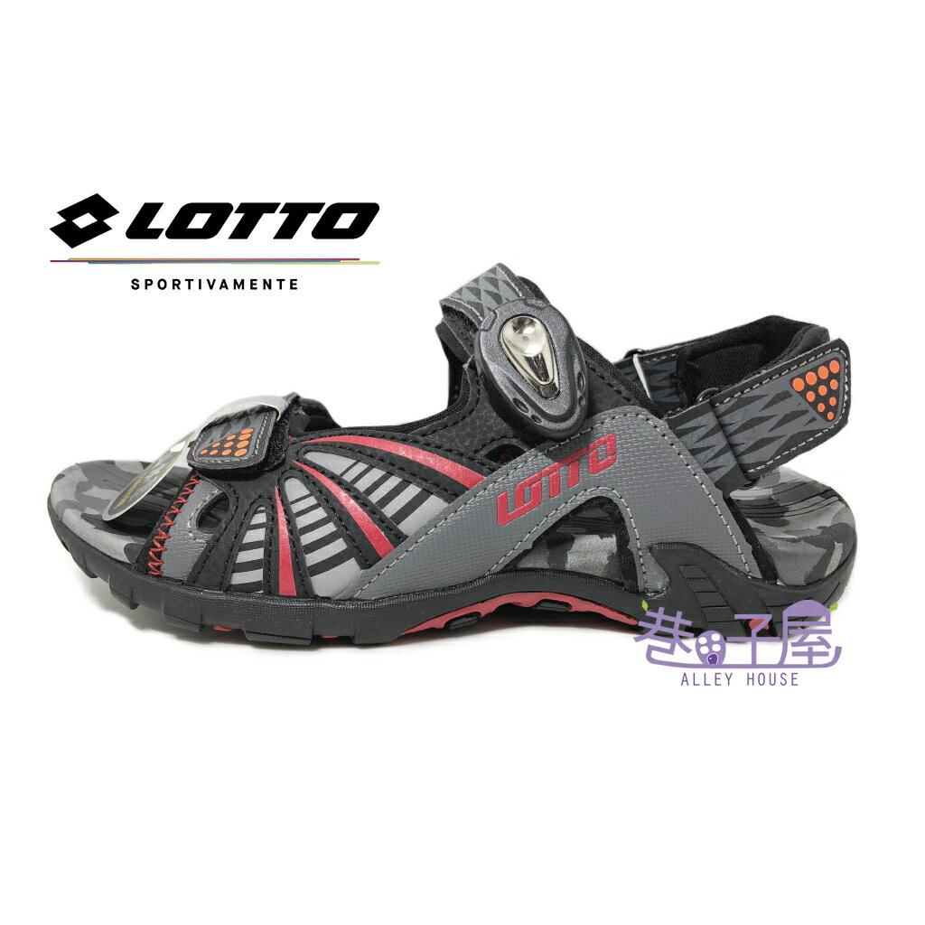 【巷子屋】義大利第一品牌-LOTTO樂得 大童透氣排水機能磁扣兩穿式涼拖鞋 涼鞋 拖鞋 [5258] 灰紅 超值價$398