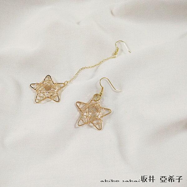 『坂井.亞希子』日系復古五芒星金屬線圈纏繞耳環