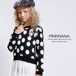 PINKNANA童裝-女童時尚黑色白圓點長袖純棉上衣32218
