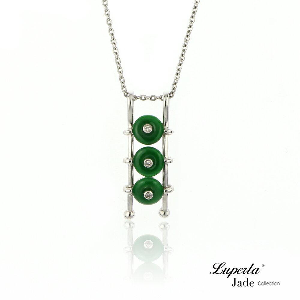 大東山珠寶 事事如意 天然緬甸老坑玻璃種A貨翡翠 頂級真鑽18K白金項鍊 3