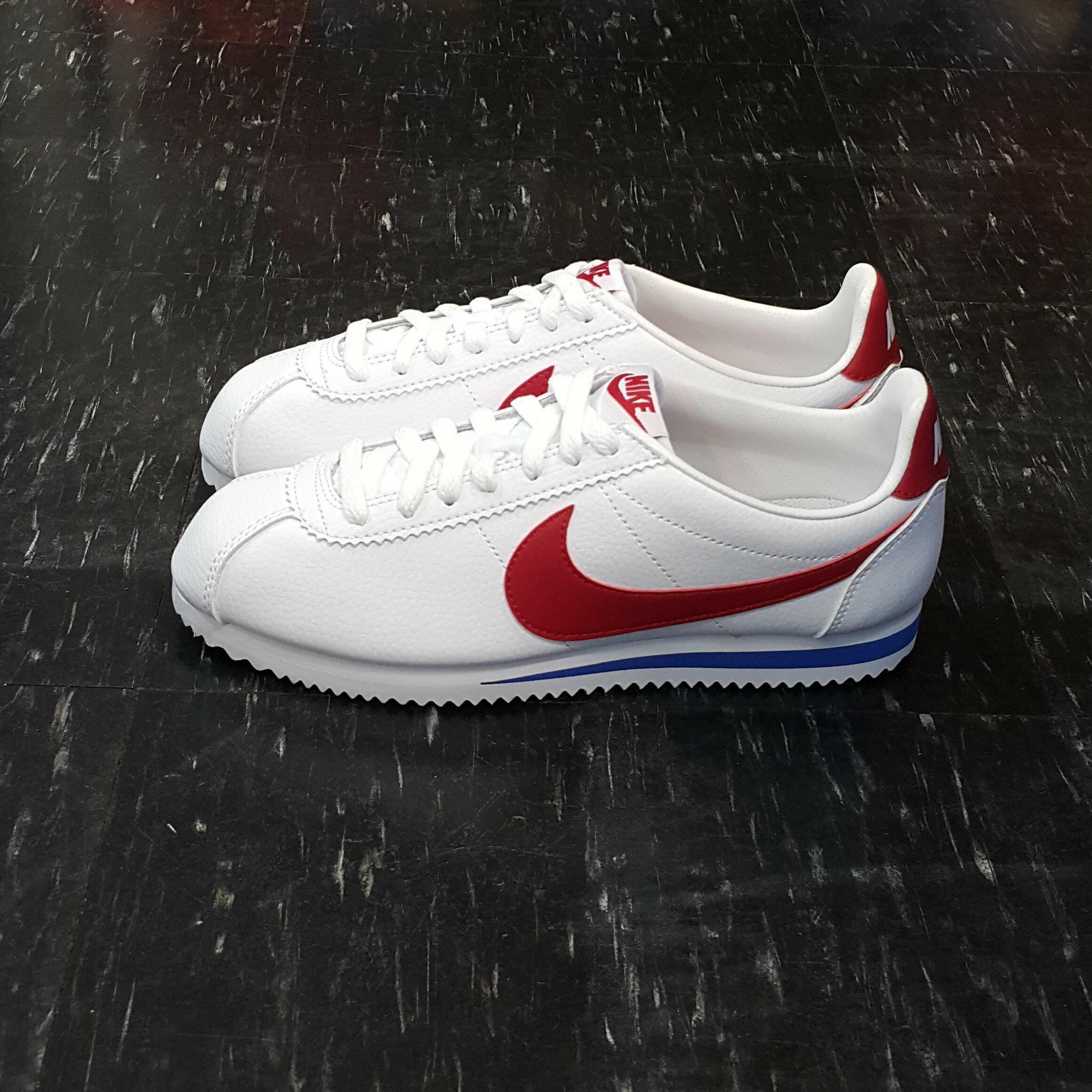 NIKE CLASSIC CORTEZ LEATHER 阿甘鞋 白色 紅色 白紅 紅勾 白紅藍 白底紅勾 皮革 經典 749571-154