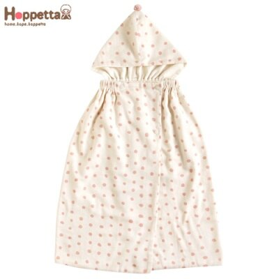 日本 Hoppetta 粉彩波點連帽多功能浴巾/外出巾-粉紅