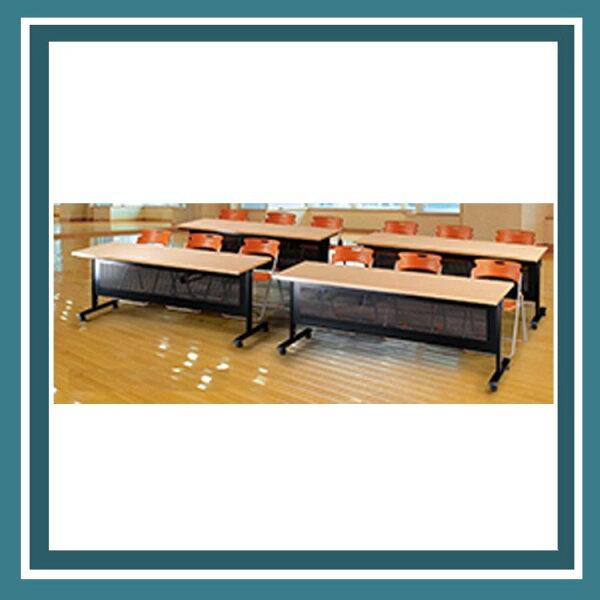 『商款熱銷款』【辦公家具】HB-1860WH黑桌架白櫸木桌板折合式會議桌辦公桌書桌桌子