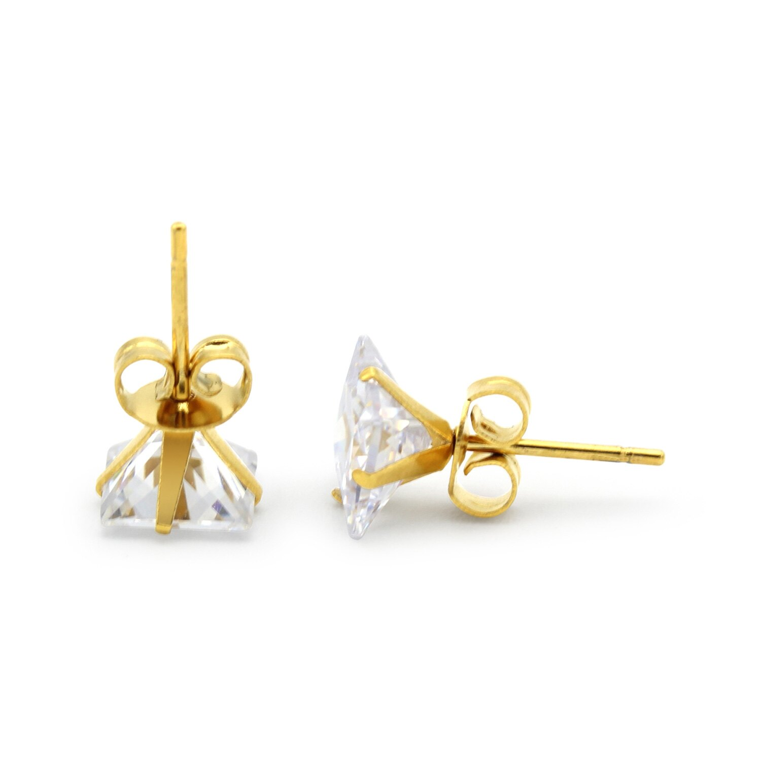 a75060dc0 Gold Cubic Zirconia Unisex Stud Earrings Stainless Steel Jewelry Collection  Square Studs 3-10 mm