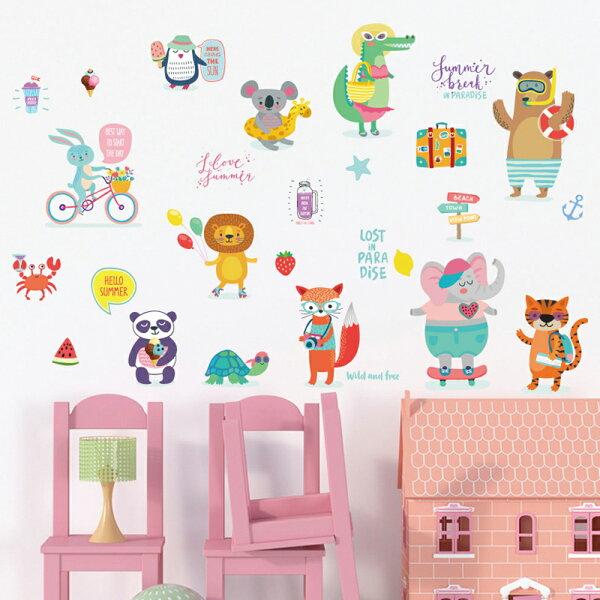 WallFree窩自在★DIY無痕創意牆貼壁貼歡樂動物沙灘SK715150x70(大象壁貼熊貓企鵝獅子烏龜鱷魚)