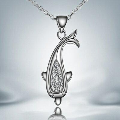 ~925純銀項鍊 鑲鑽吊墜~精巧海豚 美艷情人母親節 女 73ax25~ ~~米蘭 ~