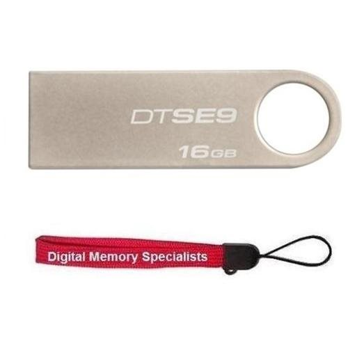 Kingston 16GB DataTraveler SE9 16G DTSE9 USB 2.0 Metal Flash Pen Thumb Drive DTSE9H/16GB + USB Lanyard
