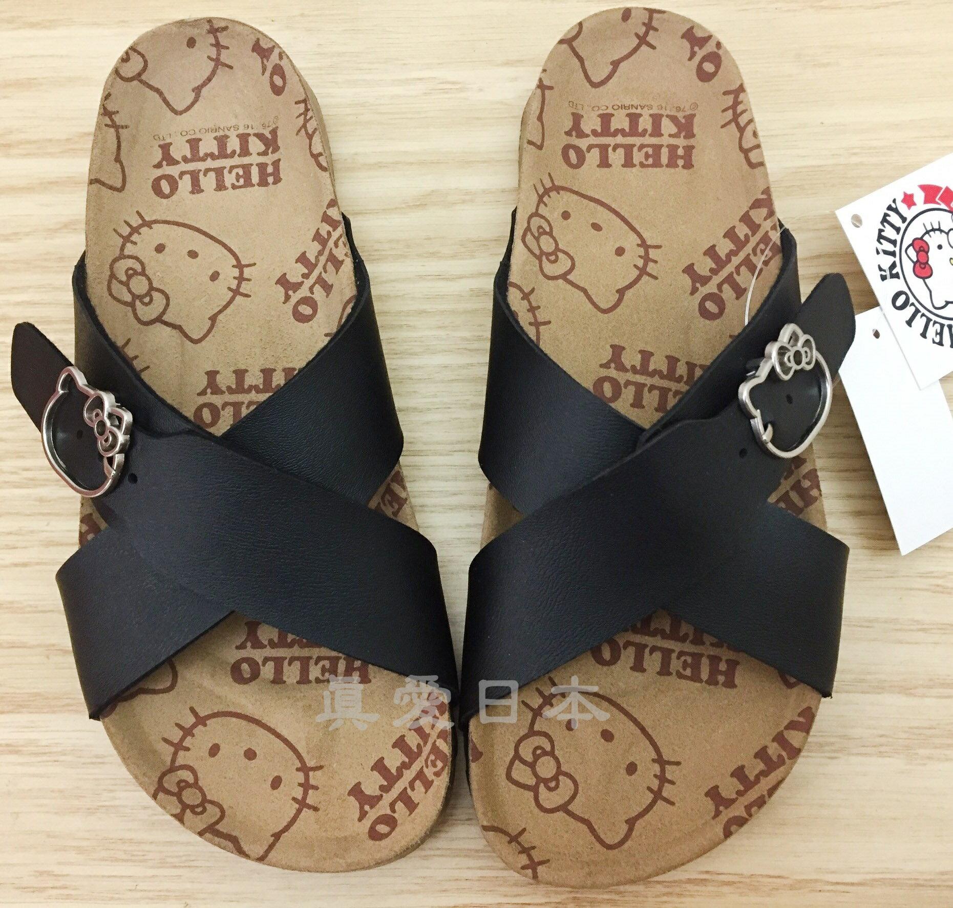 【真愛日本】博肯鞋-KT916090黑 36~40 勃肯 拖鞋 外出鞋 kitty 鞋子