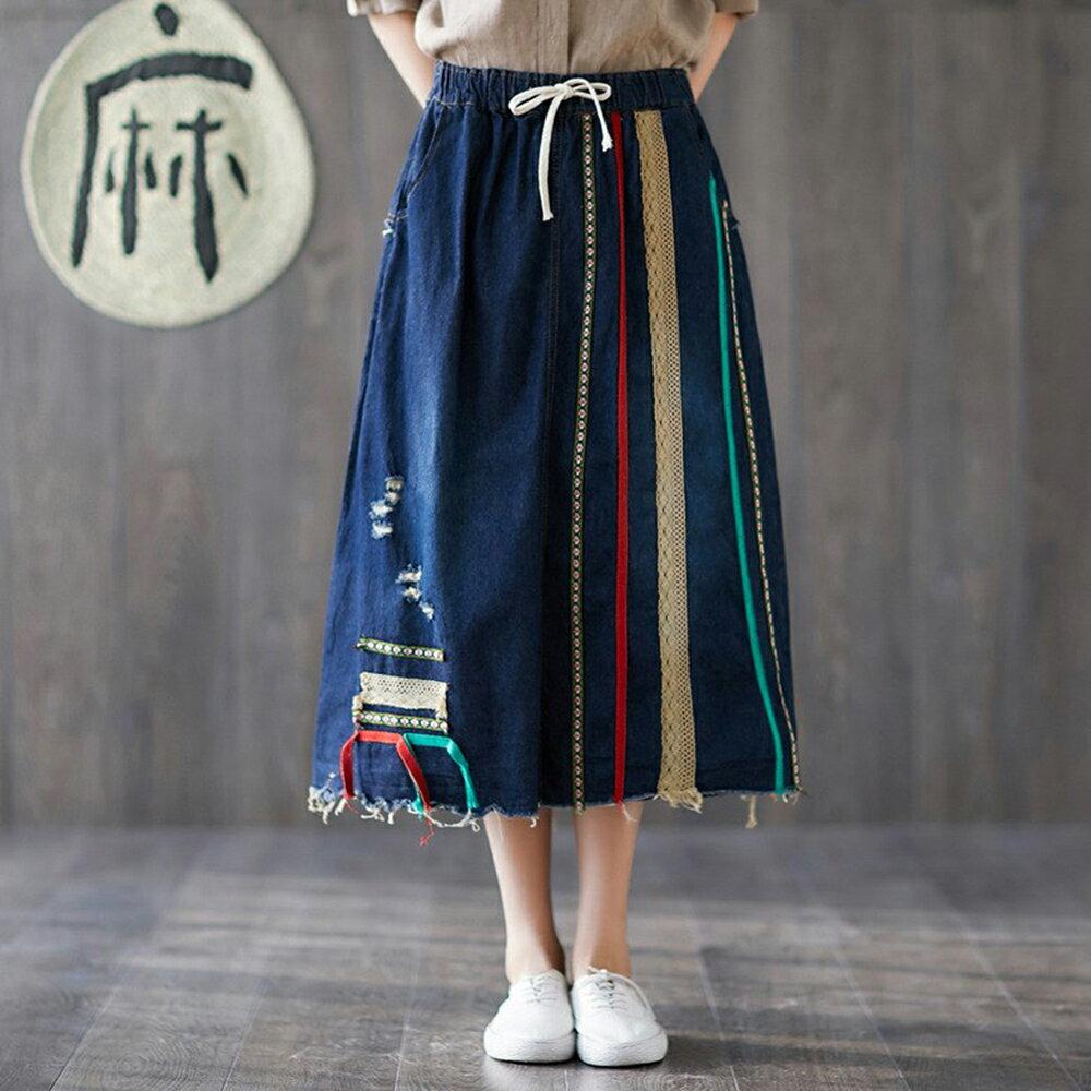 文藝復古磨破刺繡毛邊條牛仔裙(深藍色L~XL)【OREAD】 - 限時優惠好康折扣