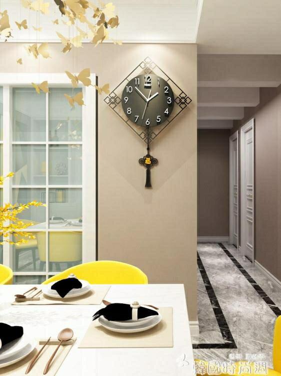 【限時下殺!85折!】美世達中式錶家用客廳鐘錶掛鐘創意時尚時鐘現代石英鐘靜音中國風