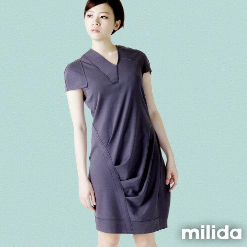 【Milida,全店七折免運】-春夏商品-V領款-修身氣質洋裝 8