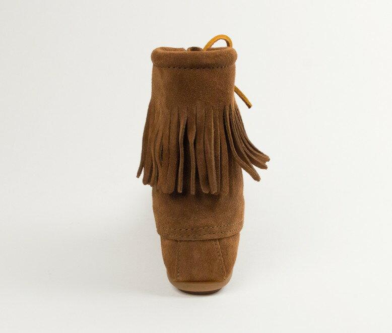 【Minnetonka 莫卡辛】深棕色 - 經典綁帶流蘇短靴 4