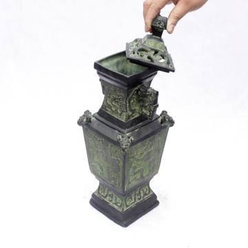 開光古青銅器古擺件家居擺設青銅瓶酒樽禮品