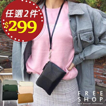 《Free Shop》手拿包 Free Shop【QFSCH9086】韓國版霧面皮革多素色素面掛脖掛繩小包手機袋手機包零錢包掛頸包
