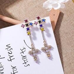 PS Mall 925銀針歐美誇張巴羅克華麗寶石閃鑽十字架耳環長款流蘇耳飾品【G070】