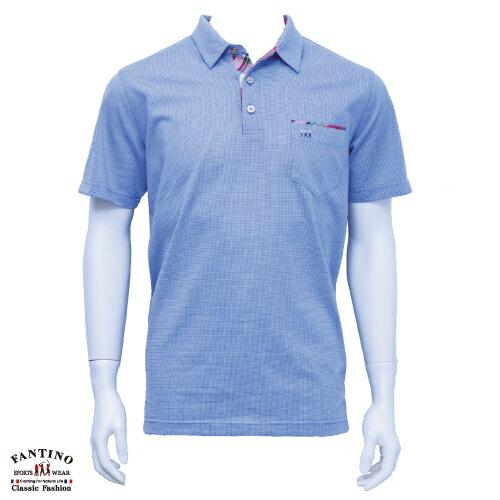 【FANTINO】男裝 微彈性素面拼接POLO衫大尺碼(淺藍紫色) 631139 0