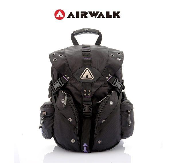 AIRWALK街頭系列-美式潮流三叉釦尼龍後背包(紫)(大容量)