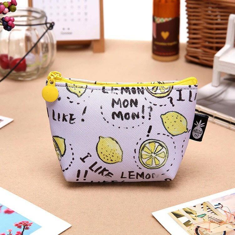 新款可愛水果布丁零錢包PU手拿包-檸檬