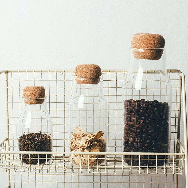 日式廚房密封收納瓶軟木塞耐熱玻璃咖啡豆堅果茶葉五谷雜糧儲物罐