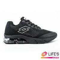 LOTTO樂得義大利第一品牌 男款Meteor流星 編織氣墊跑鞋 [0690] 黑【巷子屋】-巷子屋-潮流男裝