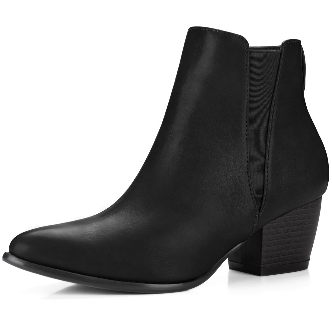 59bc787ca55a Unique Bargains Women s Pointed Toe Stacked Heel Ankle Chelsea Boots Black (Size  8.5) 0