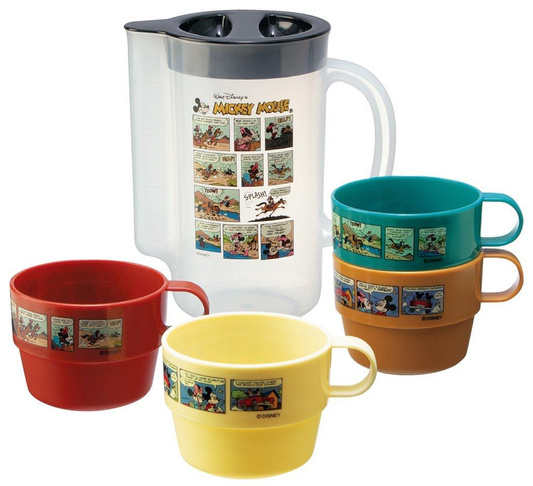 X射線【C213083】米奇米妮塑膠冷水壺+4入塑膠杯組,茶壺/水瓶水罐
