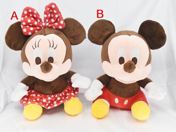 X射線【C572957】米奇Mickey米妮Minnie10吋坐姿,絨毛填充玩偶玩具公仔抱枕靠枕娃娃