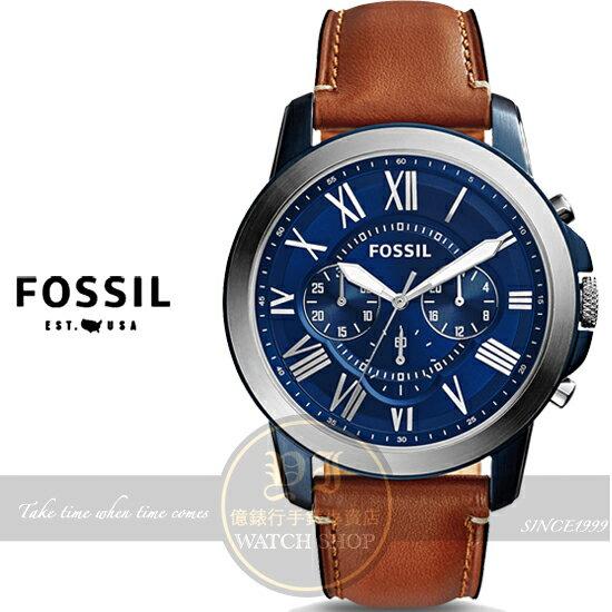 FOSSIL美國品牌Grant都會紳士三眼計時真皮腕錶/44mm FS5151公司貨/禮物/情人節
