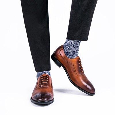 短靴真皮繫帶靴子-英倫時尚巴洛克雕花擦色男靴2色73kk105【獨家進口】【米蘭精品】