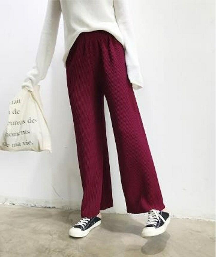 百褶寬褲 針織闊腿褲女高腰百褶韓版學生寬鬆垂感直筒  瑪麗蘇