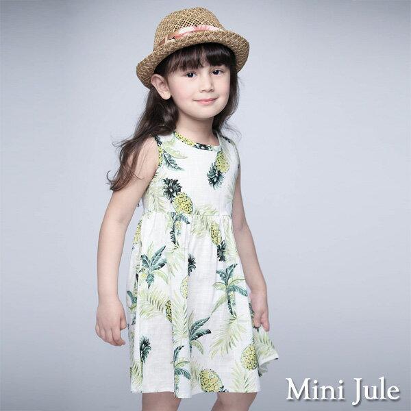 《Mini Jule 童裝》洋裝 鳳梨葉子後釦背心洋裝(米白)