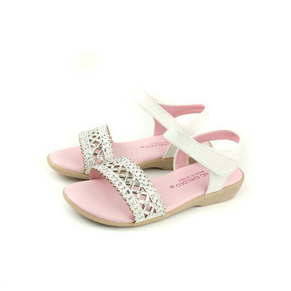KINGCHILDED小女生鞋涼鞋水鑽白色童鞋no166