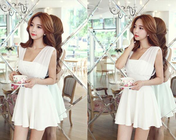 洋裝 - 韓版性感氣質雪紡連身裙-2色【27100】藍色巴黎-現貨 1