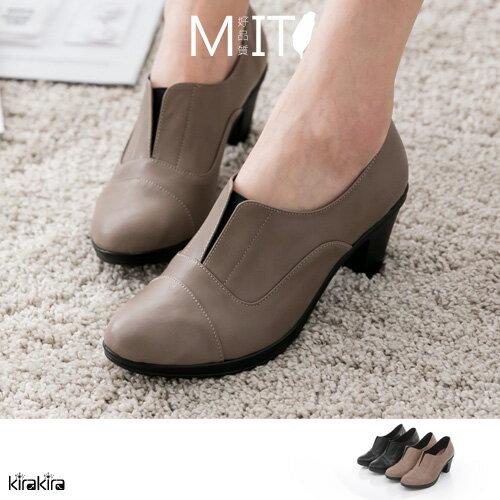 牛津鞋-MIT特殊顯瘦剪裁粗高跟學士鞋【011600005】-預購