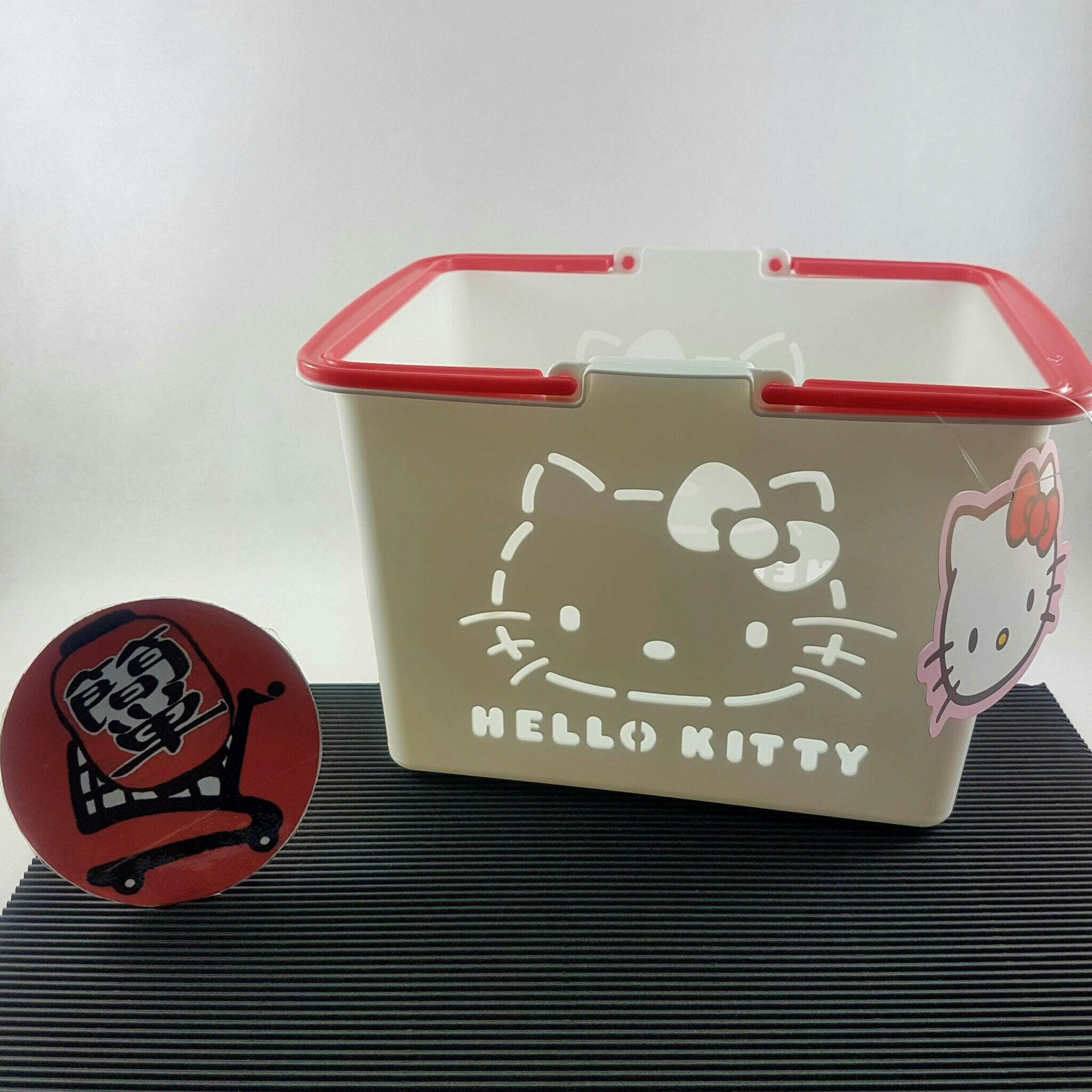 『簡?全球購』三麗鷗 HELLO KITTY白色小朋友玩具提籃 迷你菜籃 日本製