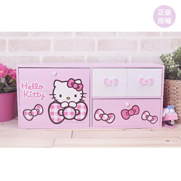 Hello Kitty格紋四抽橫式收納盒 置物櫃 小物收納 文具收納 製 三麗鷗 蕾寶 生日   情人節 聖誕 聖誕節 化妝盒