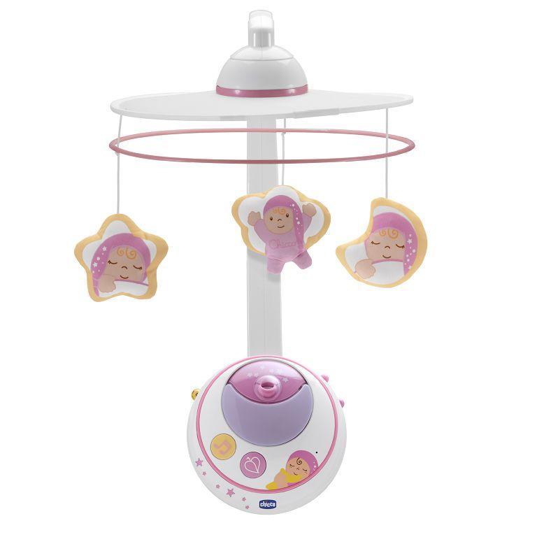 【淘氣寶寶】 Chicco三合一魔法天使旋轉音樂鈴(附遙控)+(LED投影投射聲光效果)(粉/藍)