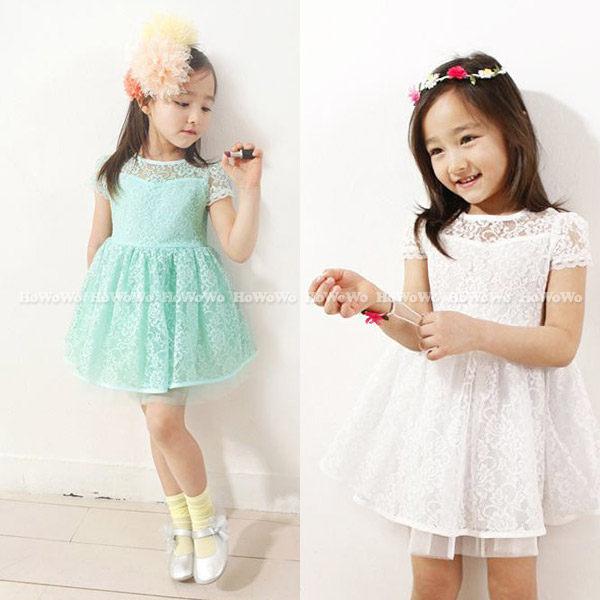 短袖洋裝 蕾絲網紗連身裙 公主裙 小禮服 FM120 好娃娃